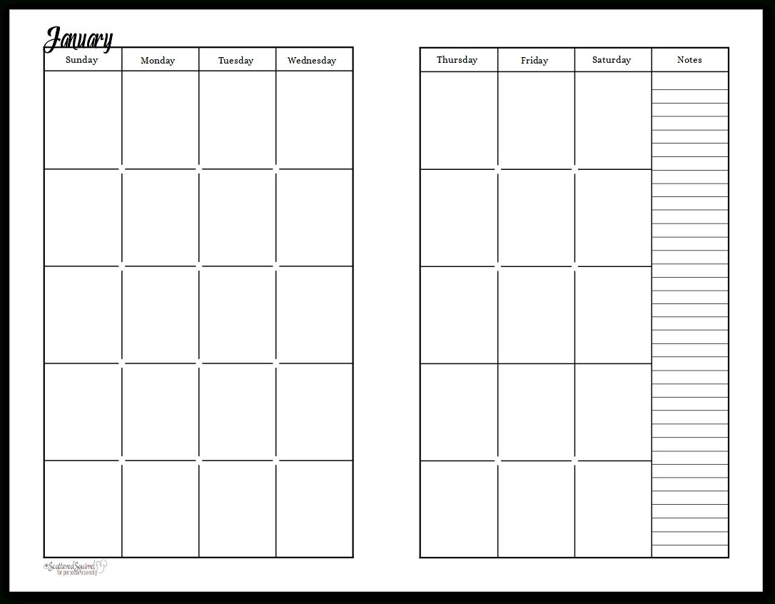 Take Printable Two Month Calendar