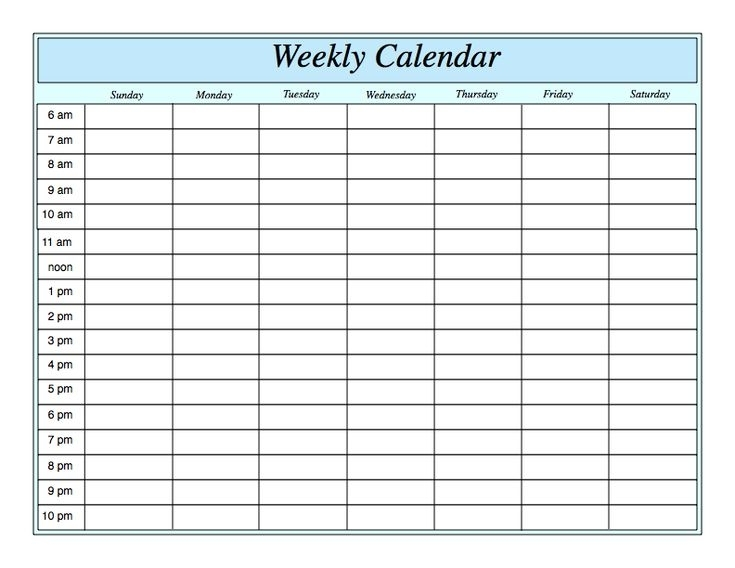 Take Weekly Calendar With Hours Of Day