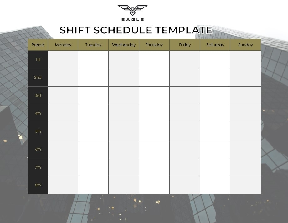 Catch 12 Hour Shift Template Free
