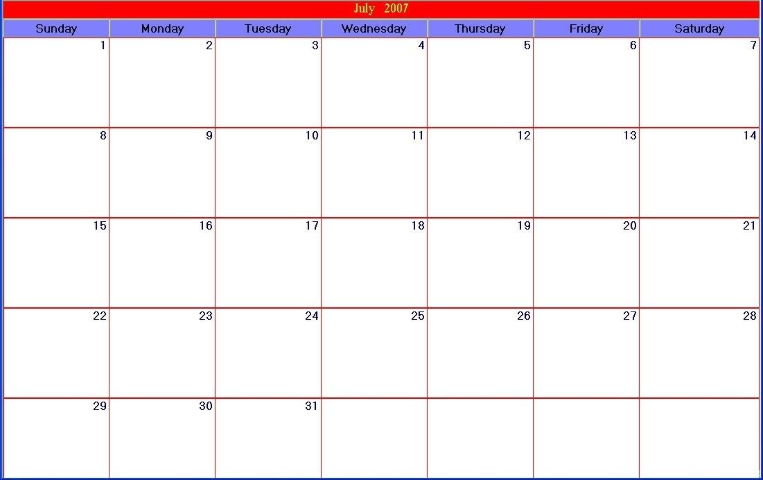 Catch 30 Day Calendar Blank