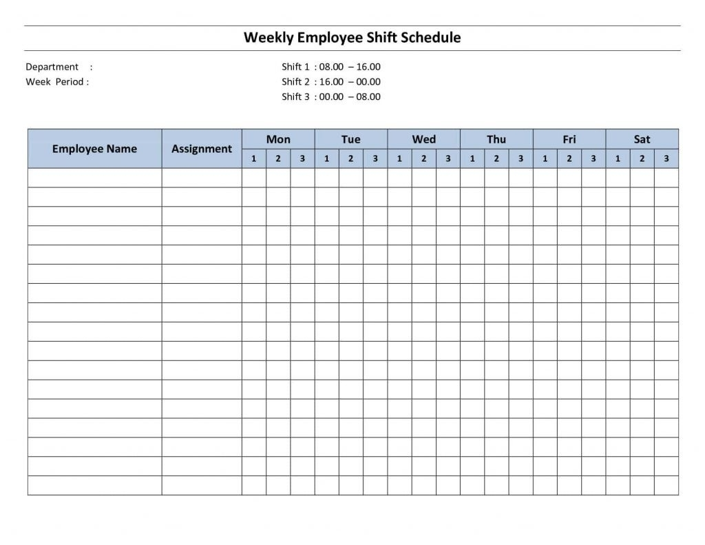 Collect 12 Hour Shift Template Free