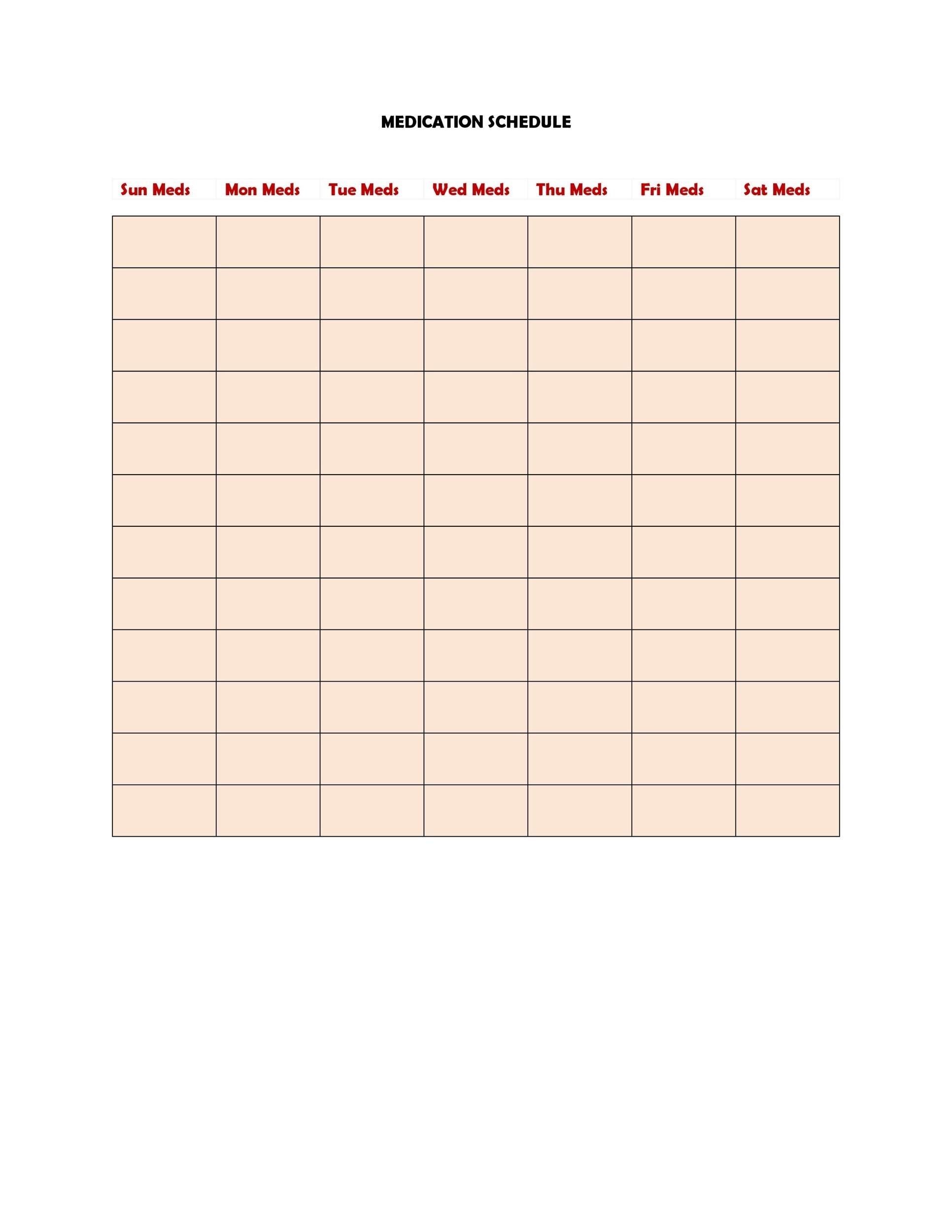 Collect 30 Day Schedule For Medication