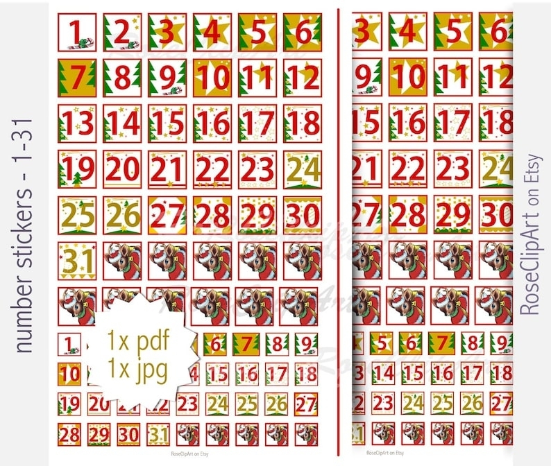 Collect Calendar Numbers 1-31