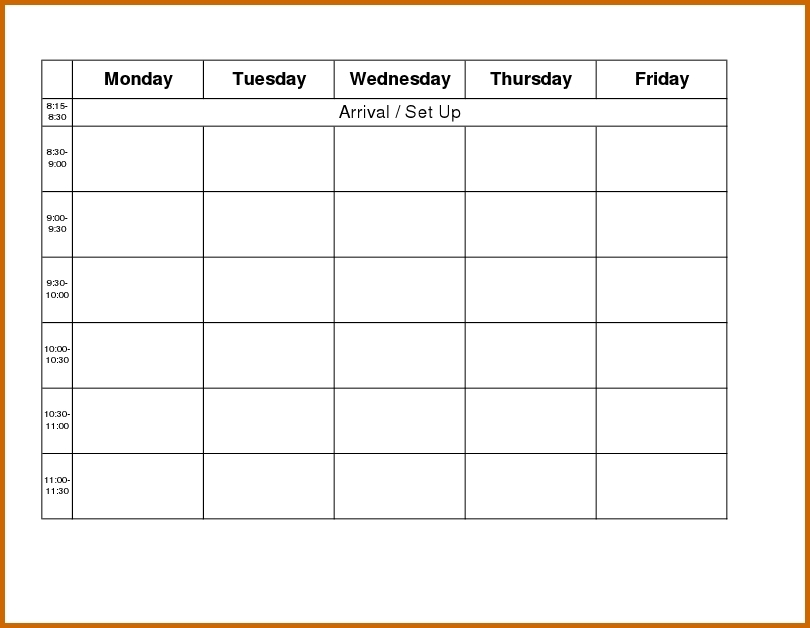 Collect Free Monday Thur Fri Day Schedules