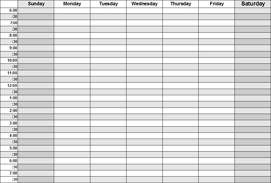 Collect Half Hour Schedule Weekly
