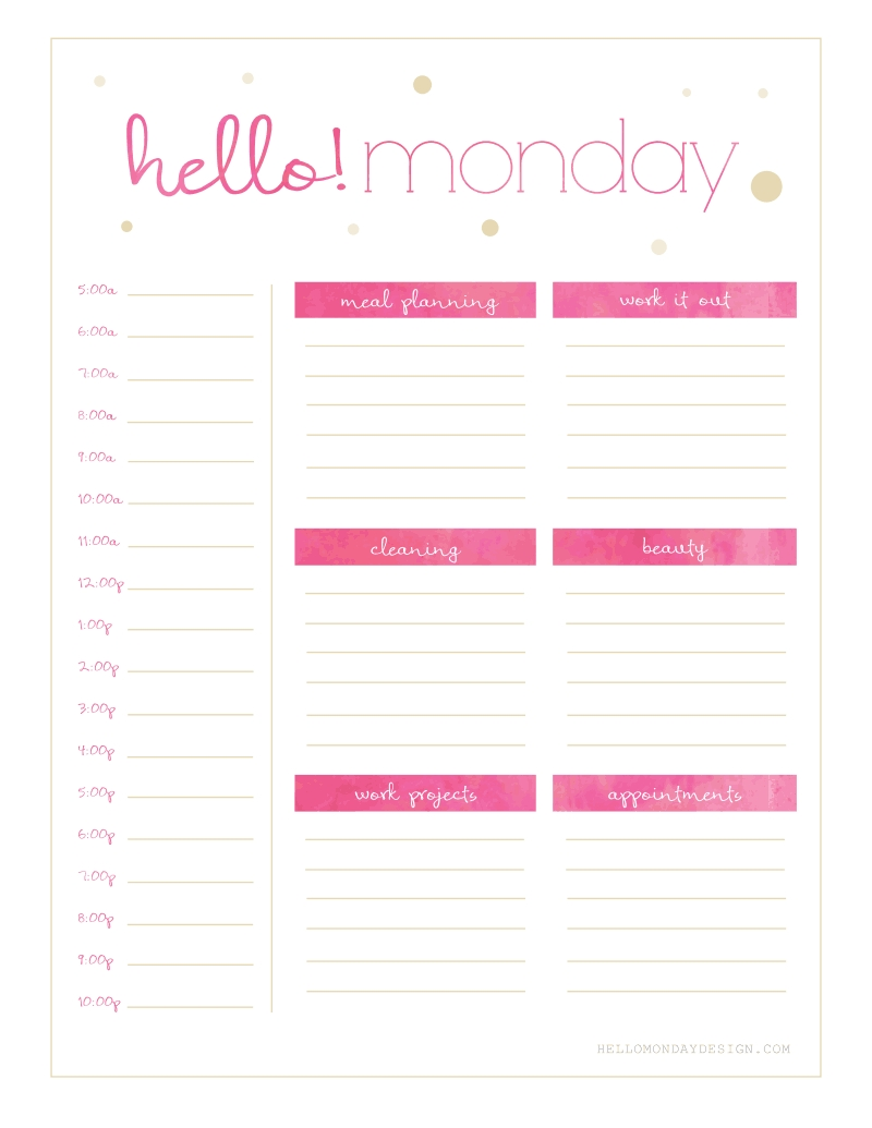 Collect Monday To Friday Planner To Print