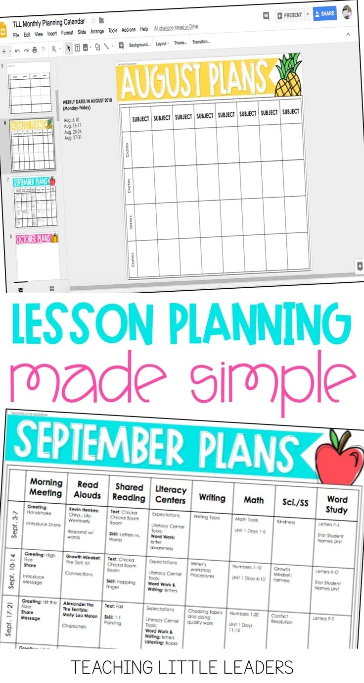 Collect Printable Monthly Lesson Plan Calendar