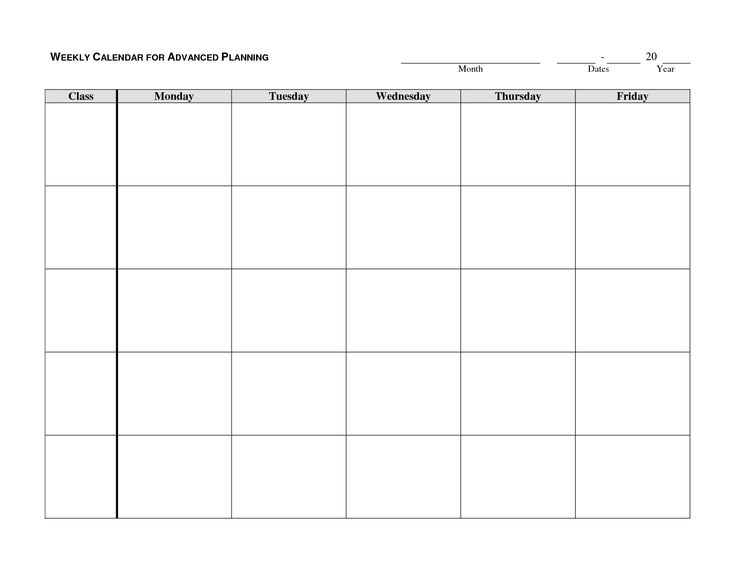 Get Monday To Friday Planner To Print