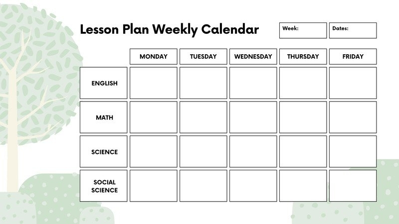 Pick Printable Monthly Lesson Plan Calendar