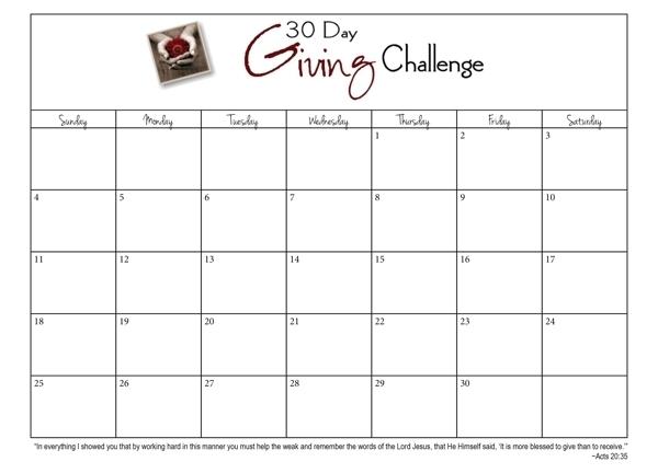 Take 30 Day Calendar Blank