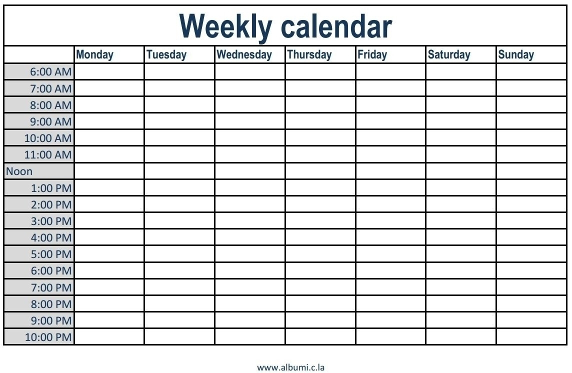 Take Monday Through Friday Calendar With Hours
