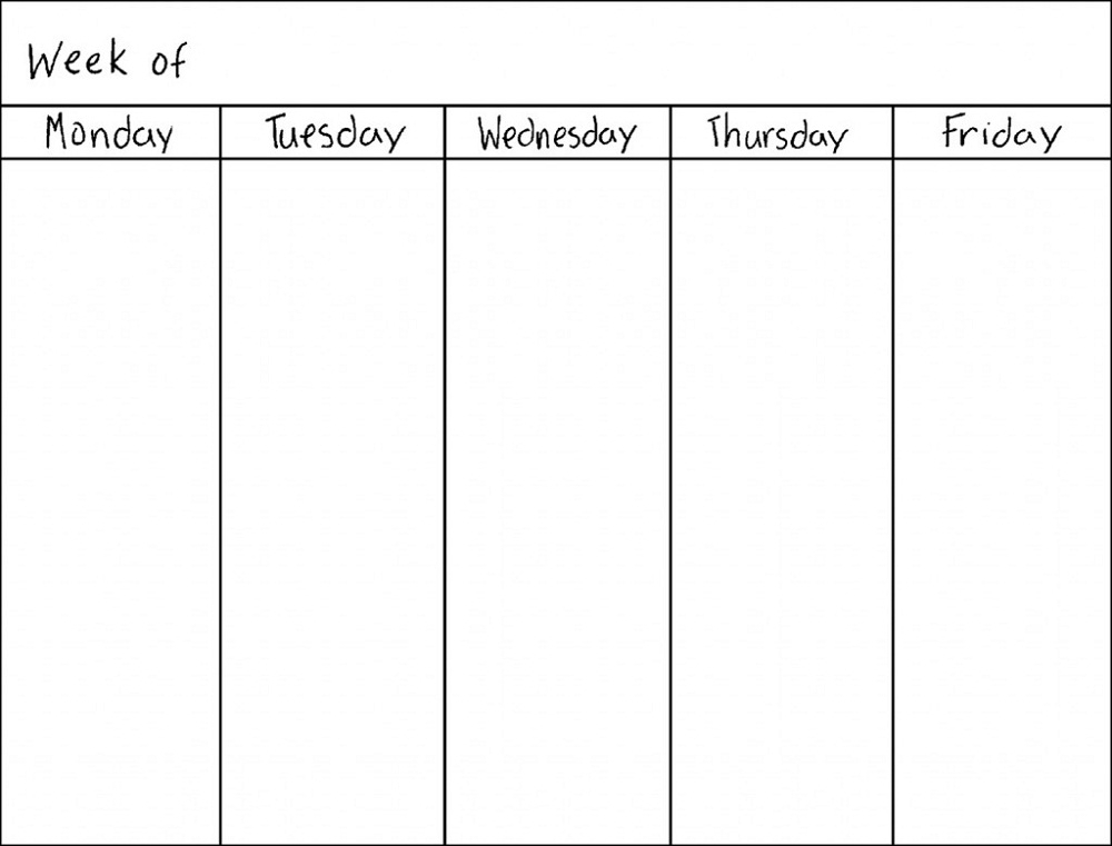 Take Printable Blank Monday Through Friday Weekly